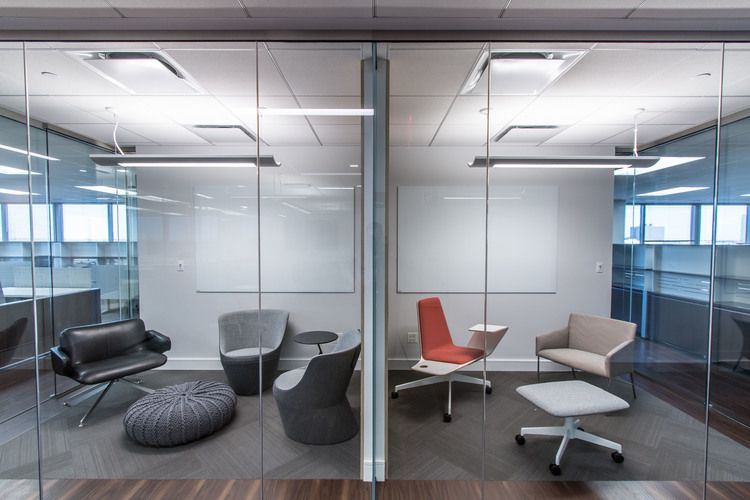Office Arrangements Inside Eclectic Seating Arrangements In These Commercial Office Huddle Rooms Designed By ewparchitects Create Open And Inviting Environments For Small Meetings