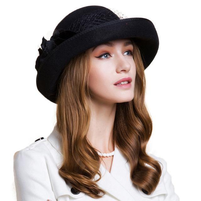 7d71a606b1e FS British Style Black Women Wool Felt Fedora Gauze With Flower Winter Curl Wide  Brim Bowler Hat Ladies Girls Wedding Hats