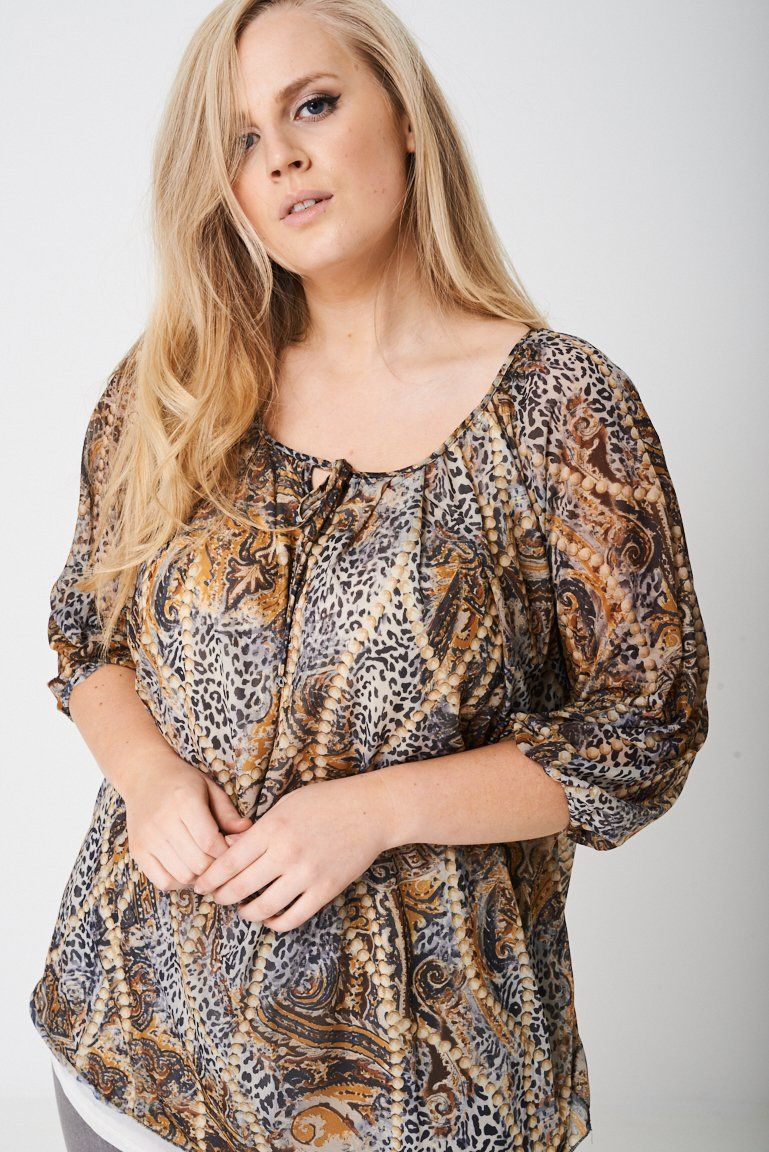 55365e5e7dc PLUS Ruched Sleeve Top in Animal Print Key Features Include  - Animal and  pearls print - Ruched sheer sleeve - Tie neck detail - Regular fit - true  to size ...