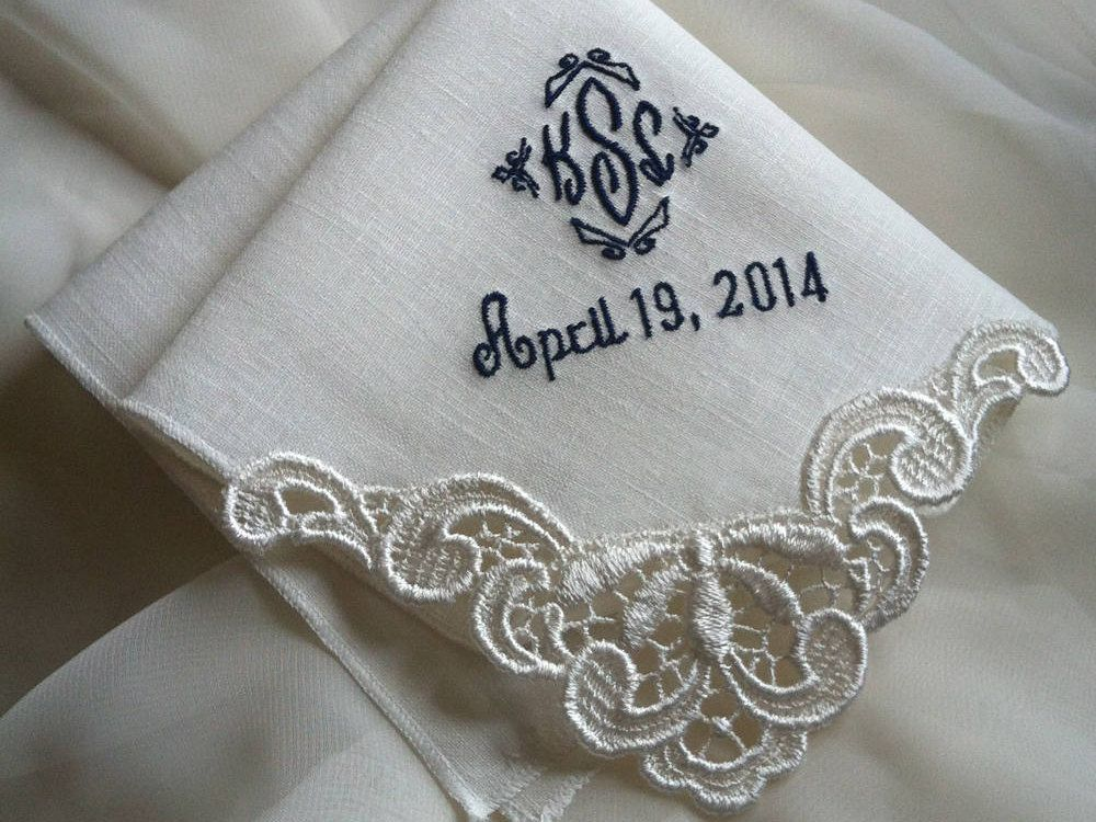 Mother of the Bride Gift Ivory Hankerchief Wedding Embroidered Wedding Handkerchief Gift for Bride Embroidered Handkerchief