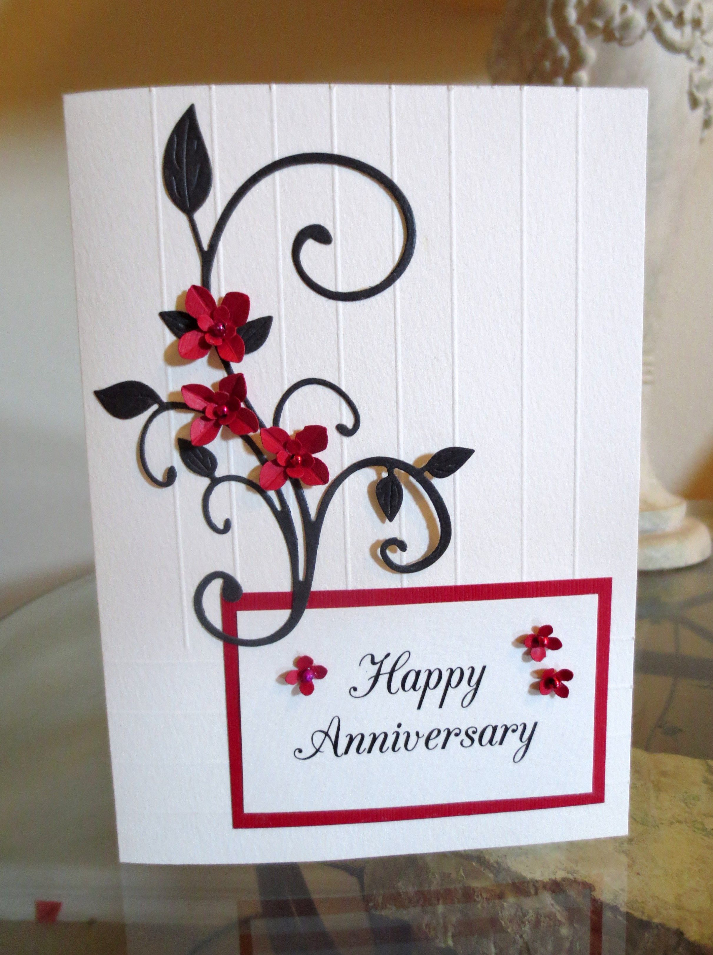 Floral Heart and Horizontal Lines Embossed Anniversary Card for Wife
