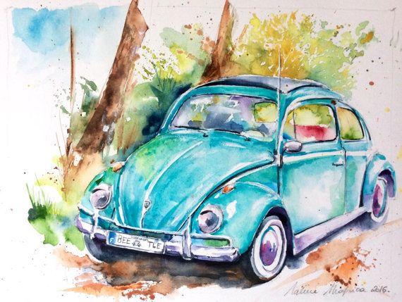 Original Watercolor Free Shipping Ladybug Car Volkswagen