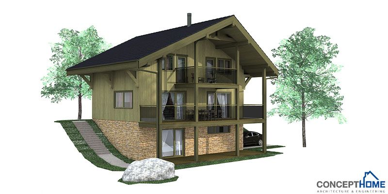 Small House Ch58 Sloping Lot House Plan Lake House Plans Small House Plans