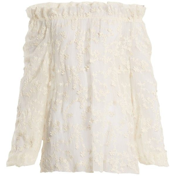 Rebecca Taylor Ellie floral-embroidered sheer cotton-blend blouse ($345) ❤ liked on Polyvore featuring tops, blouses, cream, white off shoulder blouse, off-shoulder blouses, off-shoulder ruffle tops, white frilly blouse and cream blouse
