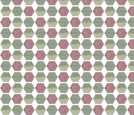Captured Rose Terrarium fabric by colour_angel on Spoonflower - custom fabric www.spoonflower.com.au #hexagonfabric #terrariumpattern #roses #kitchen