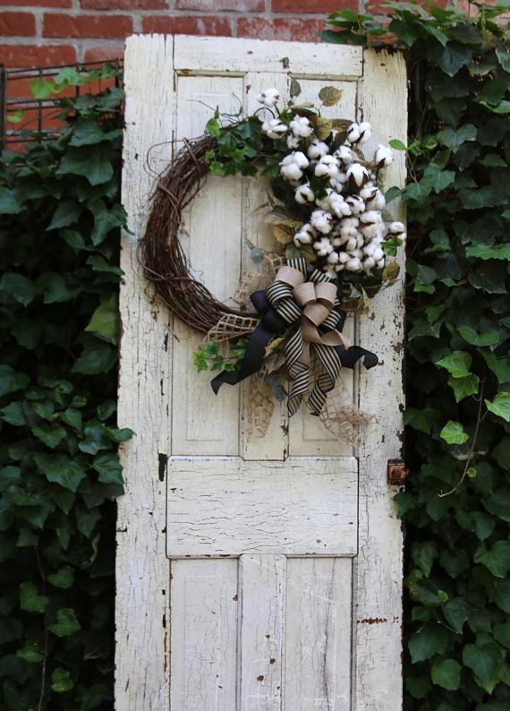 Farmhouse wreath with Cotton, Front Door wreath, Year Round wreath, Double Door Cotton wreath, Shabb #doubledoorwreaths