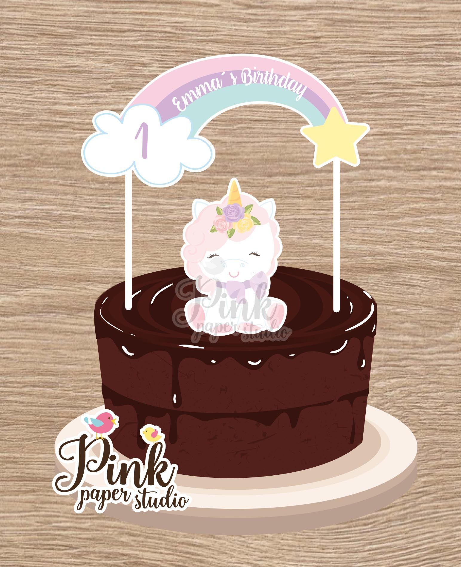 Unicorn Cake Banner • Rainbow Unicorn Cake Banner • Cake Banner by PinkPaperStudioMiami on Etsy