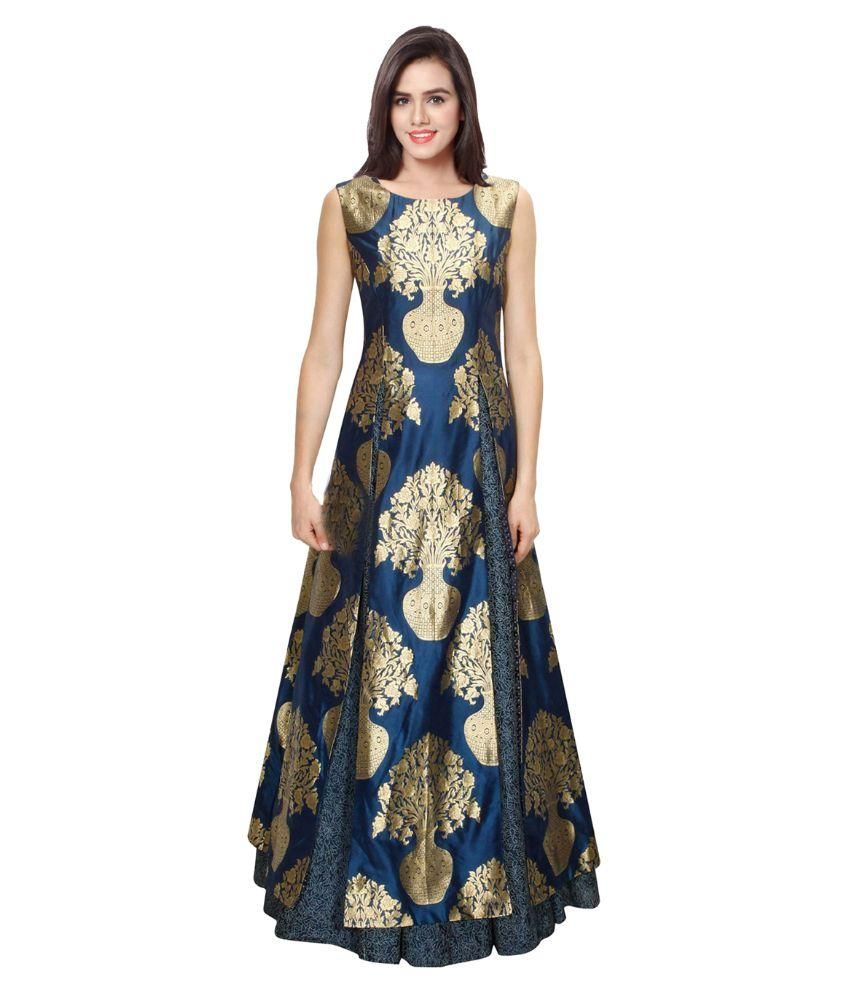 f4bc32d50f5 Buy Kmozi Blue Silk Gown Online at Best Prices in India - Snapdeal ...
