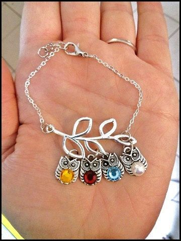 Hey, I found this really awesome Etsy listing at https://www.etsy.com/listing/167486907/owl-birthstone-branch-bracelet-custom