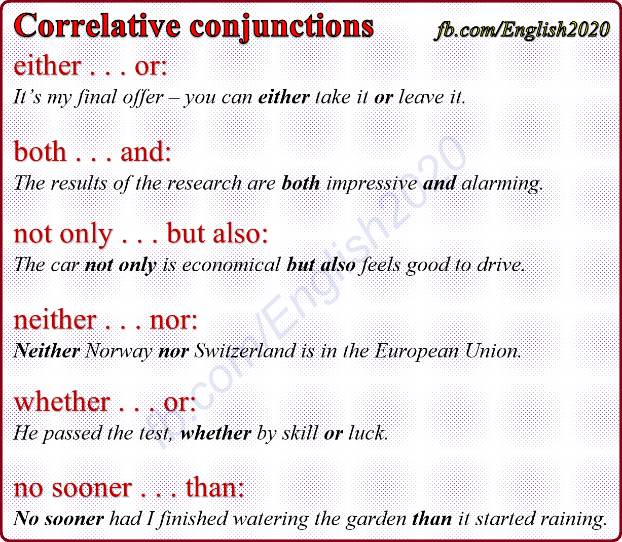 hight resolution of Correlative Conjunctions   Correlative conjunctions