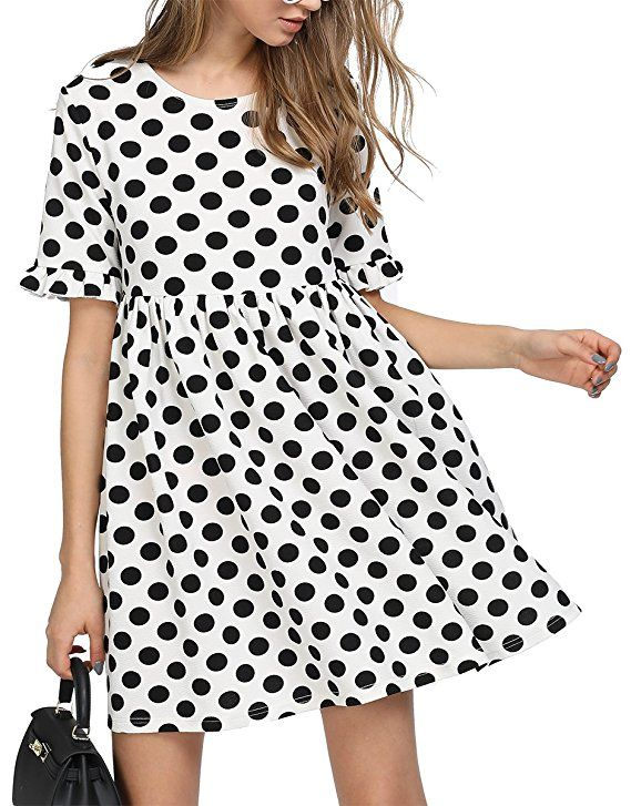 Image result for Romwe Women's Comfy Swing Tunic Short Sleeve Smocked Polka Dot Loose Dress | The Best Bump-Friendly Amazon Finds featured Alabama blogger My Life Well Loved #maternity #pregnancy