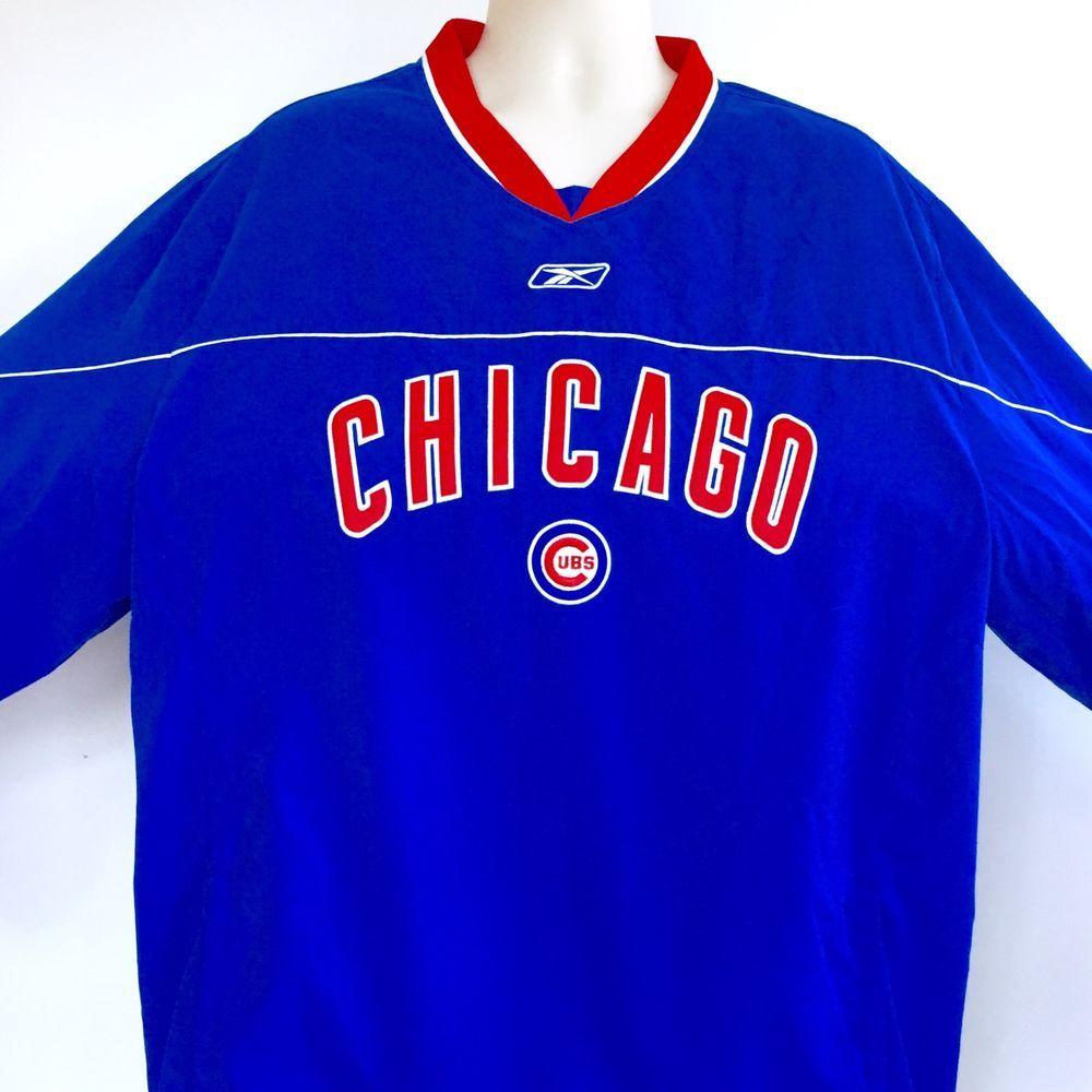 d701e7a91 Chicago Cubs Reebok Mens Pullover Jacket XL Windbreaker Genuine Merchandise  #Reebok #Windbreaker