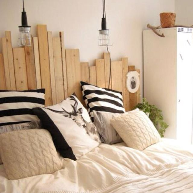 Random upcycled timber bed head looks cool maybe for Cool bed head ideas