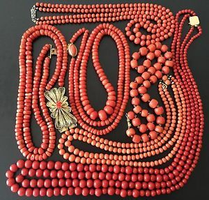 425-8-gram-antique-old-coral-bead-coral-natural-coral-necklace-gold-silver