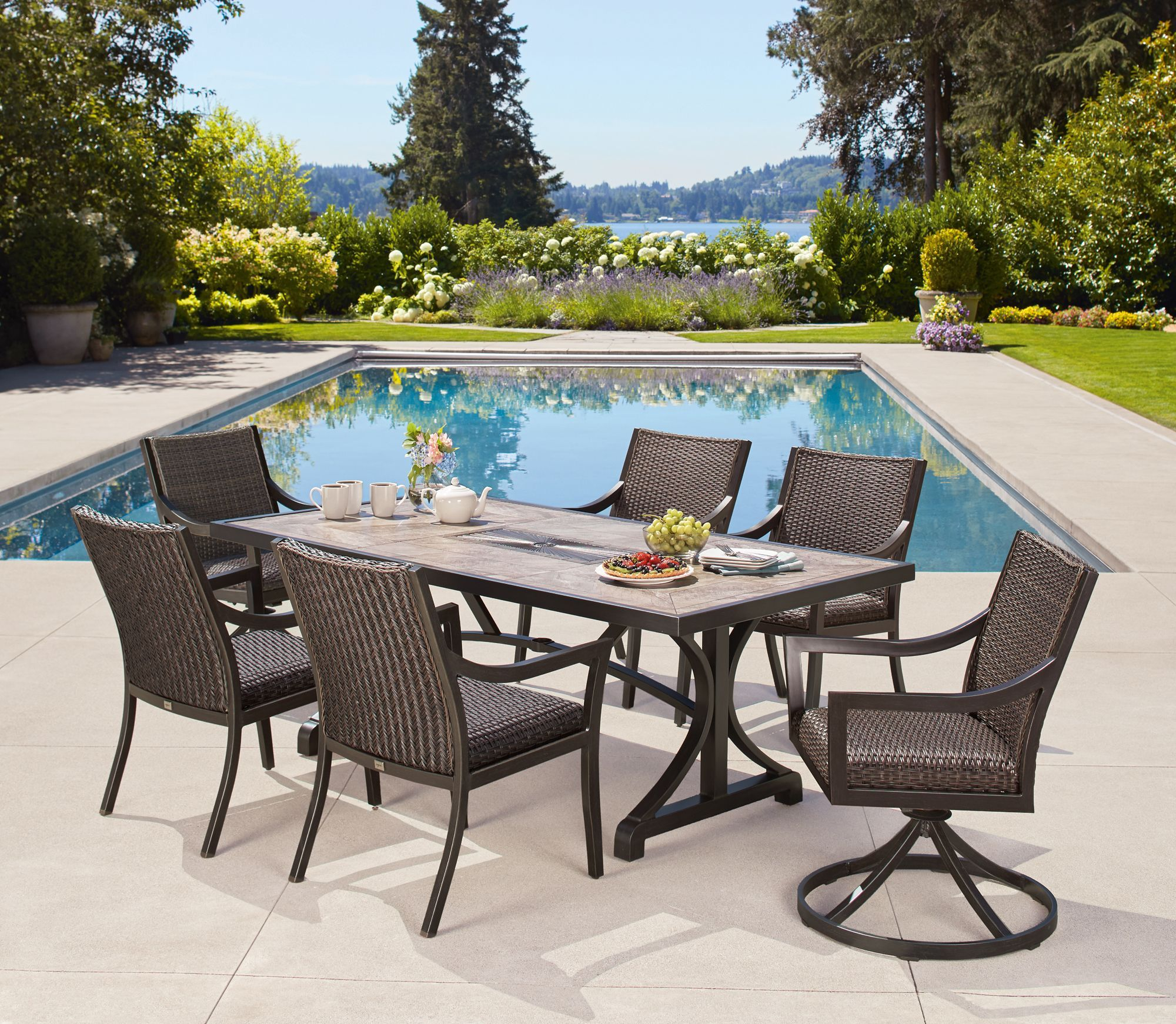 South Dakota 7piece Woven Dining Set Patio furniture