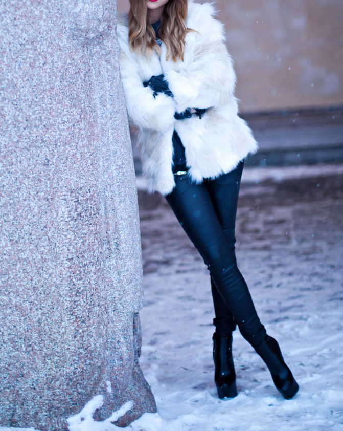5d3a006c2747 love her style. faux fur from Chicy    leather pants from Jofama by Kenza     boots from have2have    leather gloves from Jofama    hat from Ginatricot