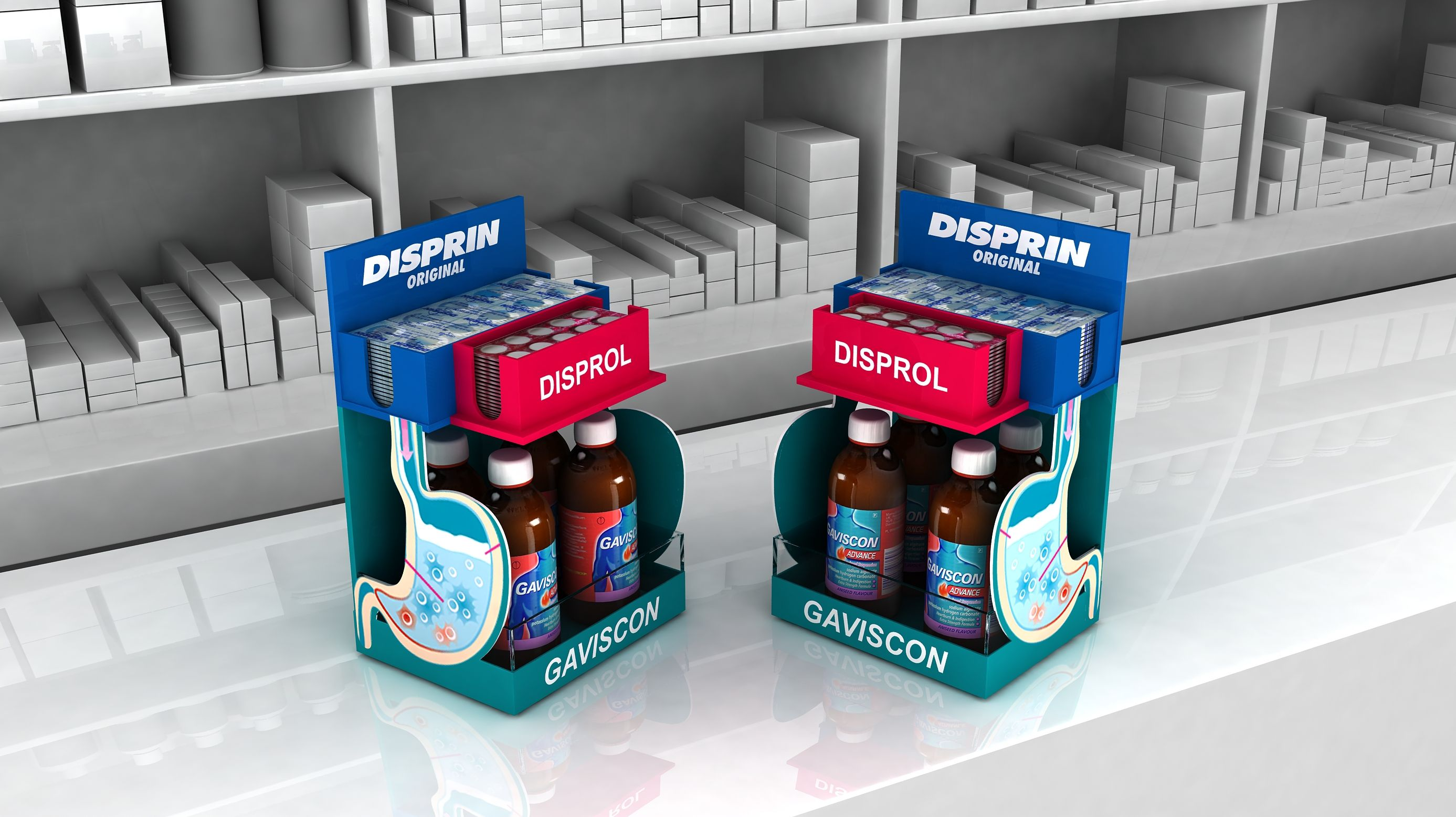 Check Out My Behance Project Disprin Disprol And Gaviscon Counter Top Https Www Behance Net Gallery 61619569 Countertops Web Design Inspiration Counter