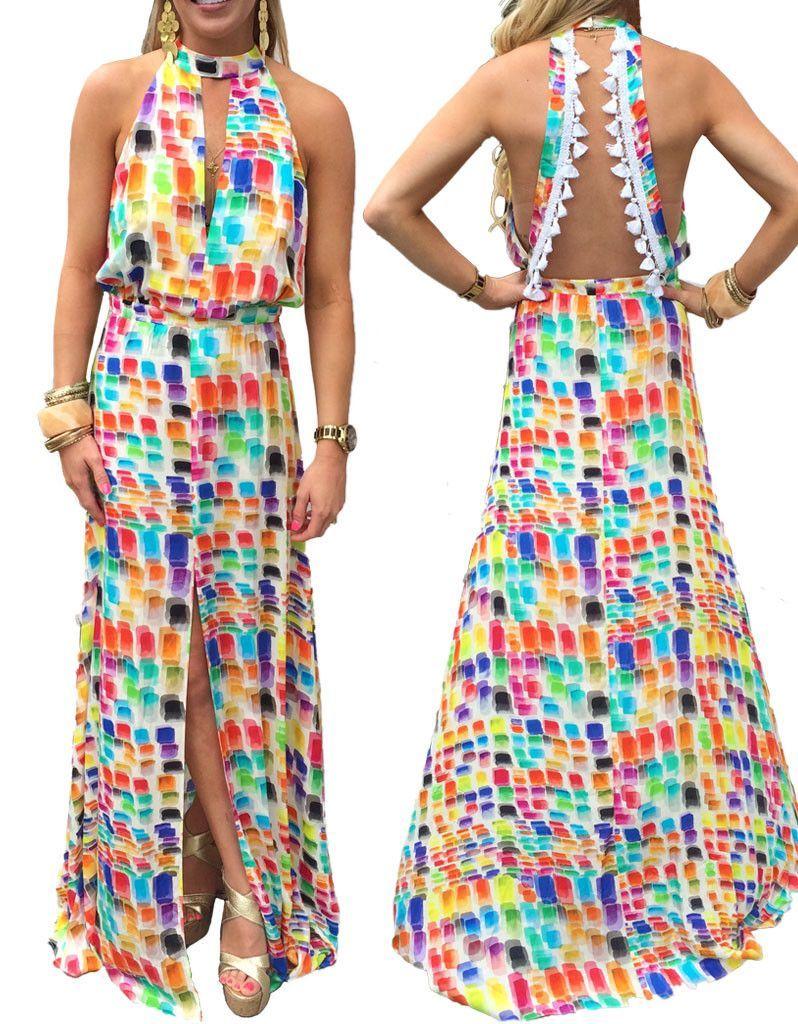 Alexis wyatt long dress with open back in brushstroke of color