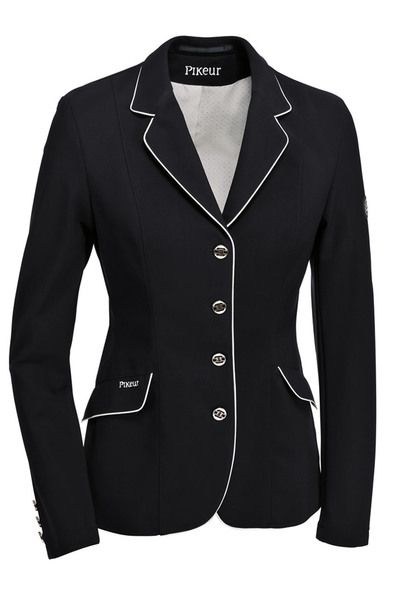 547ad52e Pikeur Daisy Show Coat at Mary's is a ladies black 4-button competition  jacket w/ white piping, chic buttons & top performing Sensitive Fabric.