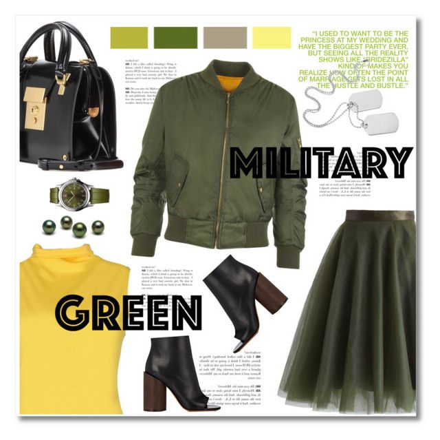 """go army green"" by limass ❤ liked on Polyvore featuring Chicwish, Andrea, Thom Browne, TAVIANI, WearAll, Victorinox Swiss Army, Givenchy and Gogreen"