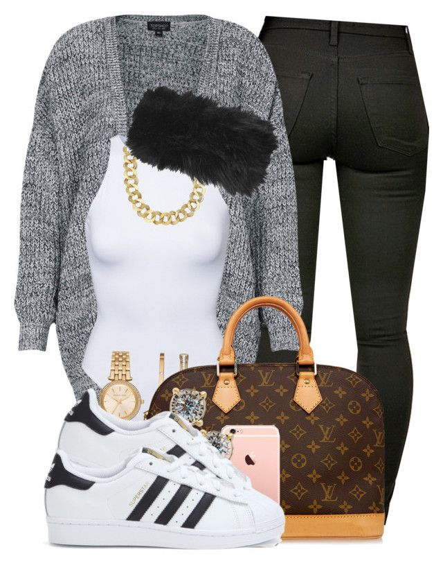 I hate when i slack. by cocochanelox on Polyvore featuring polyvore fashion style Topshop Estradeur adidas Louis Vuitton Michael Kors Blue Nile TruMiracle clothing
