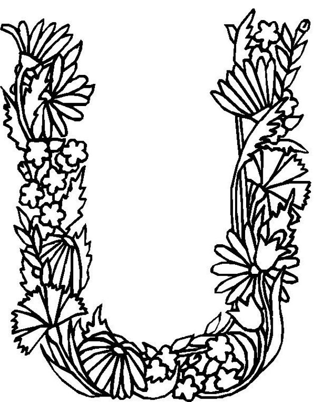 flower page printable coloring sheets alphabet flower u