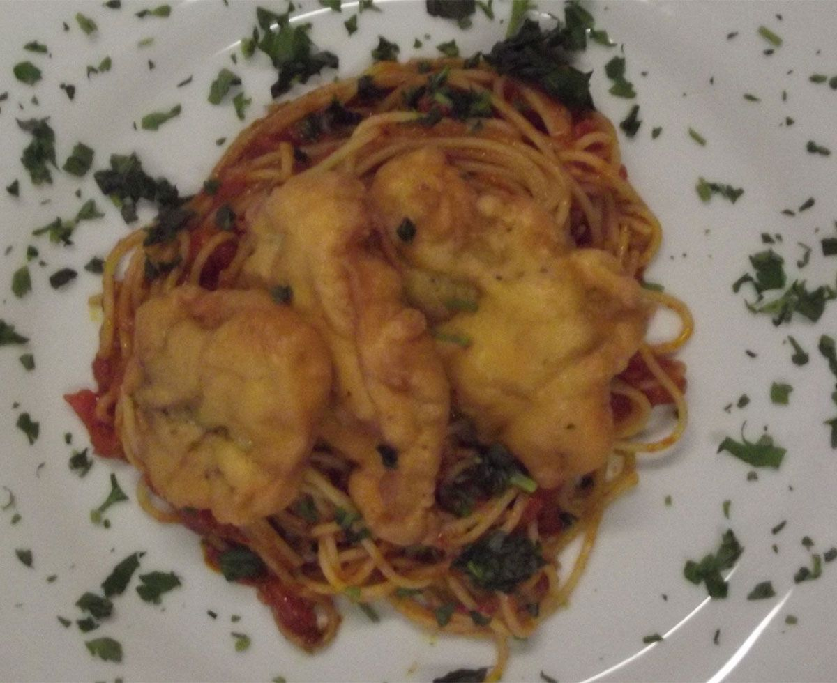 Piccata Milanese auf Spaghetti Napoletana