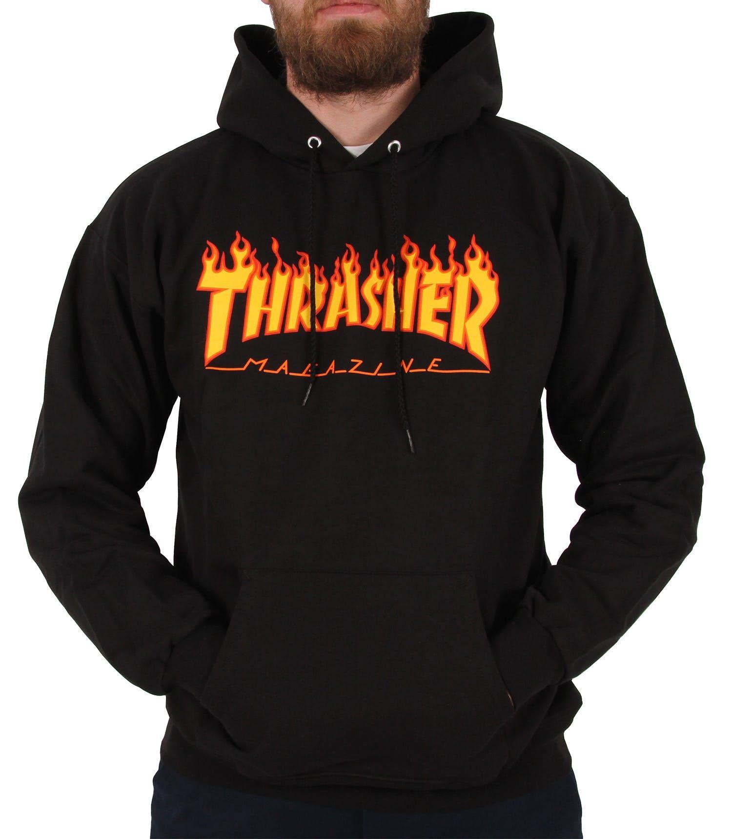 Thrasher Flame Logo Hoodie Black in 2020 Black hoodie