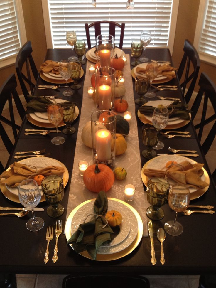My own Thanksgiving table this year, using Pinterest as my inspiration #thanksgivingdecor