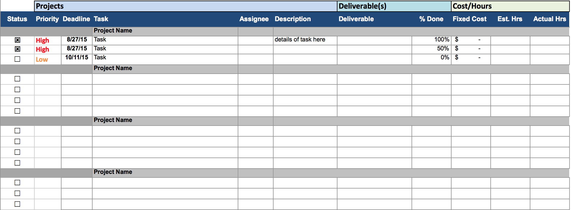 Project Tracking Tracker Template