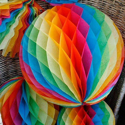 Rainbow Paper Party Decorations | Pom-pom di carta, Pon pon e Carta