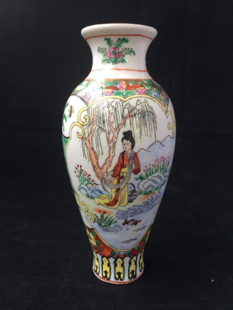 Antique Chinese Porcelain Family Rose Vase H 15 Cm Marked Bottom