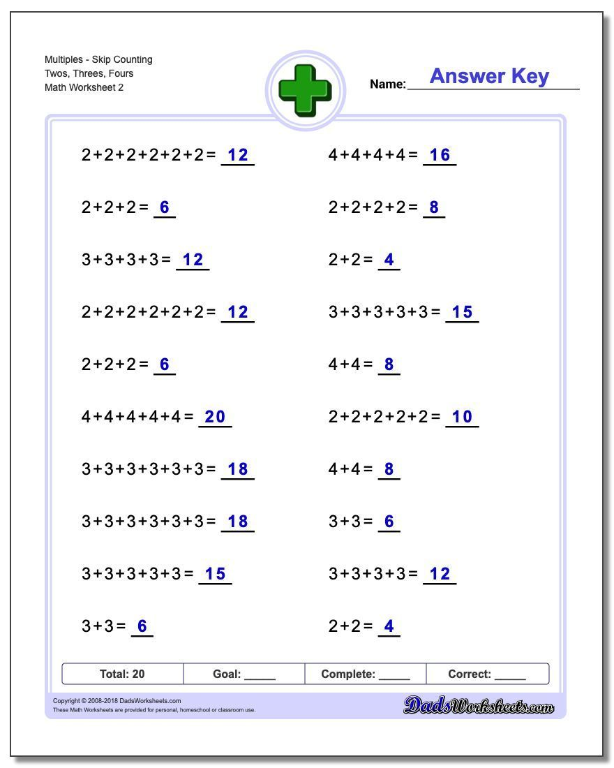 Addition Worksheets That Introduce Multiples And Skip Counting Our Addition Worksheets Are An Excel Addition Worksheets Probability Worksheets Math Worksheets