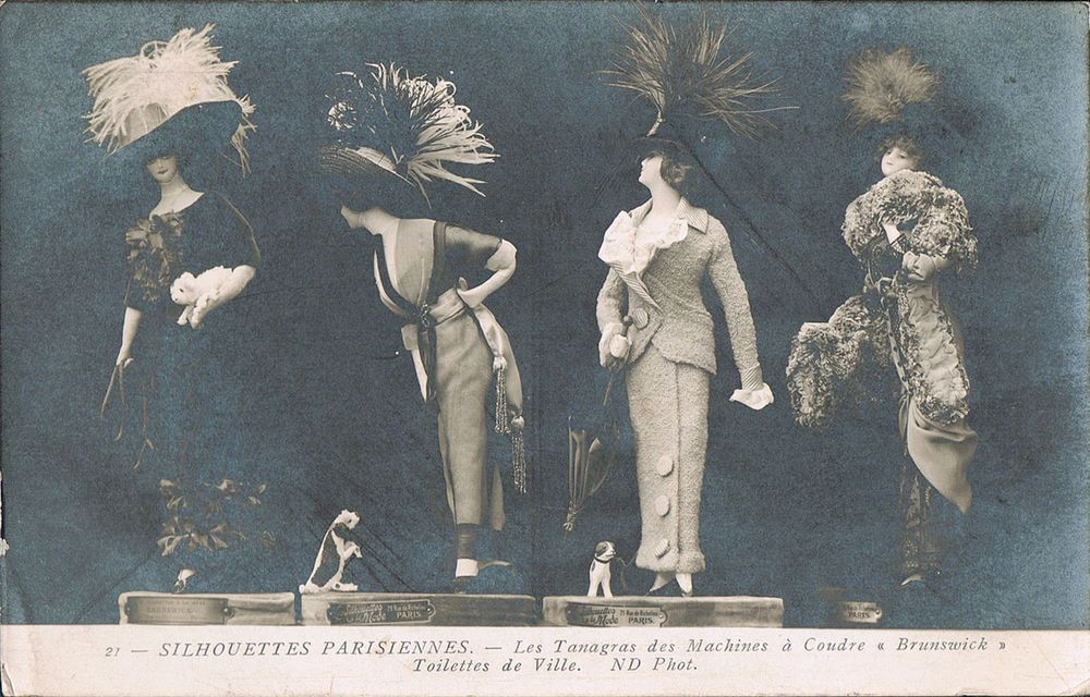 RPPC~Real Photo Postcard~Silhouettes Parisiennes~Dolls Wear Fancy Hats & Clothes