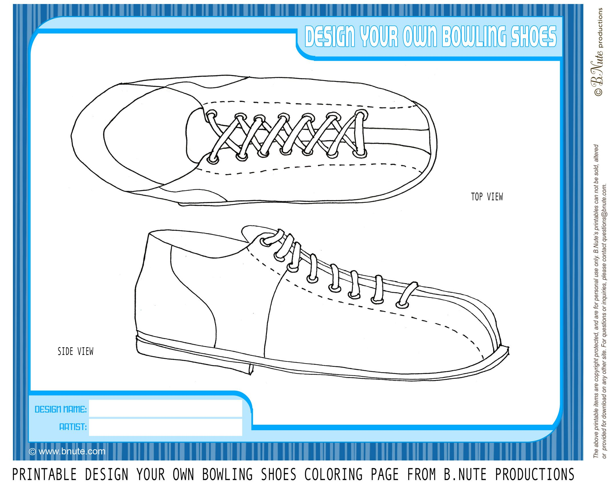 Bnute Productions Free Printable Coloring Page Design Your Own Bowling Shoes