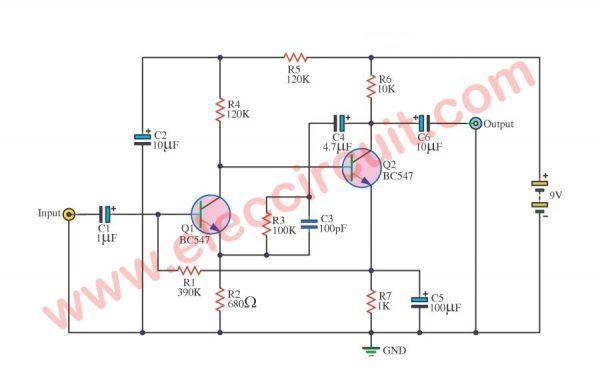 4 Preamplifier circuits using transistors - Eleccircuit.com | Guitar on ham radio circuits, ham radios for beginners, ham radio block diagram, ham receiver schematic,