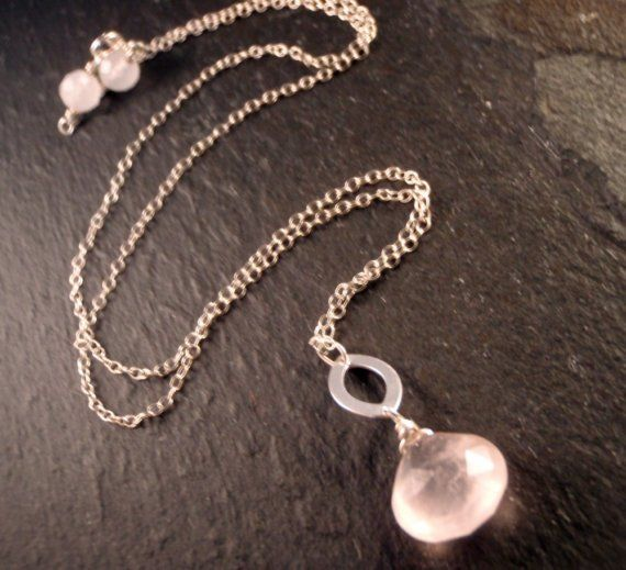 Necklace with Oval Pendant and Pink Quartz by YiraPradoDesigns, $60.00