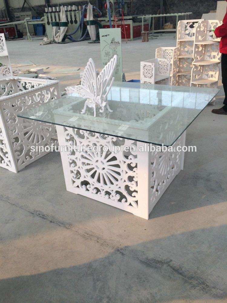 ديكور طاولة زفاف فاخر أكريليك شفاف زجاج سطح خشبي طاولة طعام
