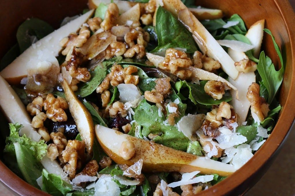 """My sister in law brought this salad over for dinner and I couldn't stop eating it.' I now call it the """"Molly Salad"""" and make it all the time. There is just something about this salad…maybe the candied walnuts, the delicious pears, or the homemade balsamic dressing, but everything goes together perfectly.  Continue reading →"""