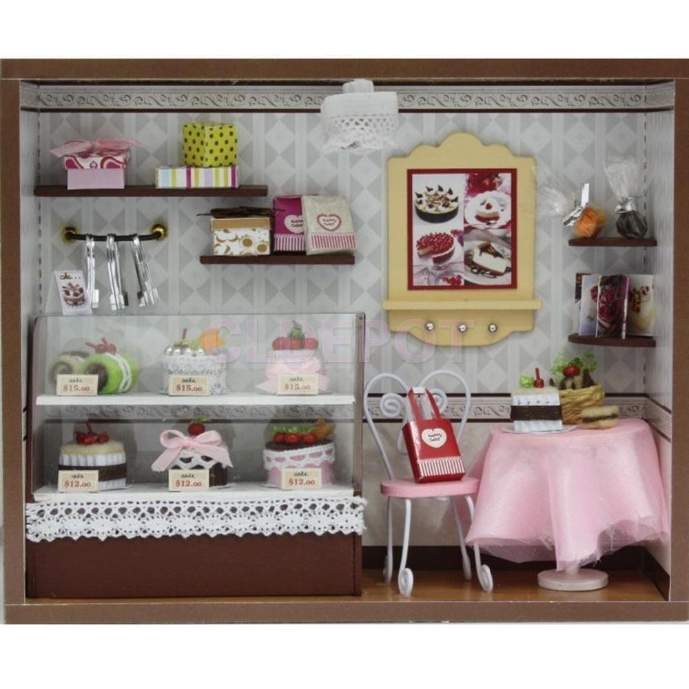 Dollhouse Miniature Diy Kit W Light Cake Store Bakery: DIY Handcraft Wooden Miniature Project Kit Doll House Cake