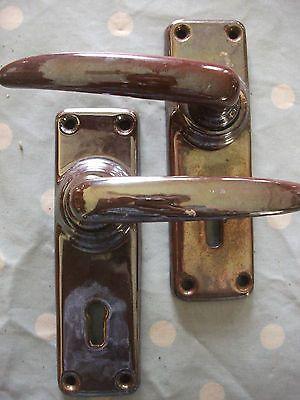 Nice Pair Of Vintage Lustre Door Handles 1950s / 60s