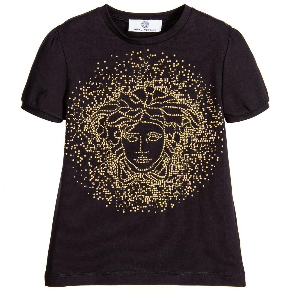 7a2b19a99a2 Versace Girls Black Studded Medusa T-shirt