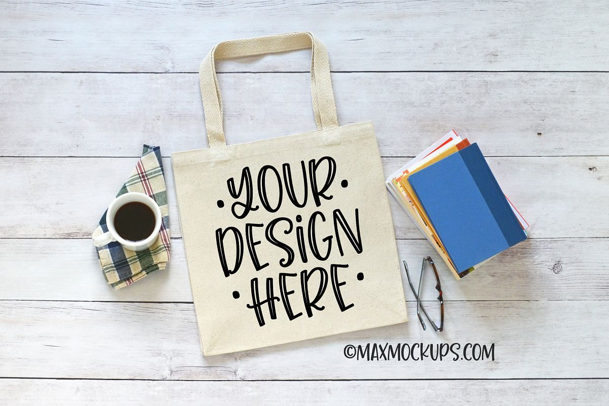 Download Canvas Tote Bag Mockup Books And Coffee Theme 232365 Household Design Bundles Bag Mockup Canvas Tote Bags Blank Tote Bag