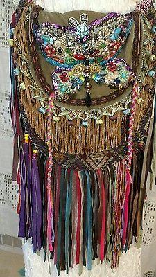 Bolsa Bohemio Festival Hecho a Mano Flecos De Cuero Cartera Hobo gitano Collage Hippie tmyers