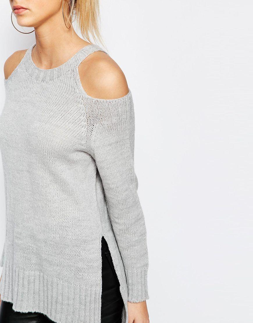 Jersey de punto suave con hombros descubiertos de Boohoo | camisas o ...