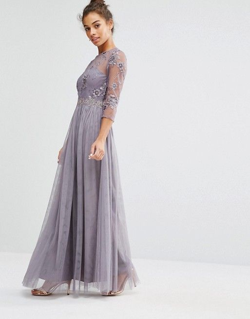 8440997e0b Little Mistress Petite Premium Embroidered Maxi Dress With Pleated ...