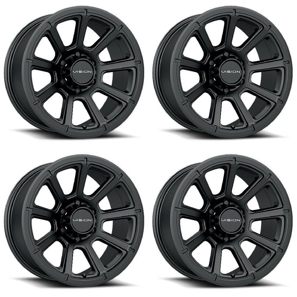Set 4 16 Vision 353 Turbine Black Wheels 16x8 6x5 5 0mm Chevy Gmc Sierra 6 Lug Visionoffroad In 2020 Black Wheels Truck Wheels Custom Wheels Cars