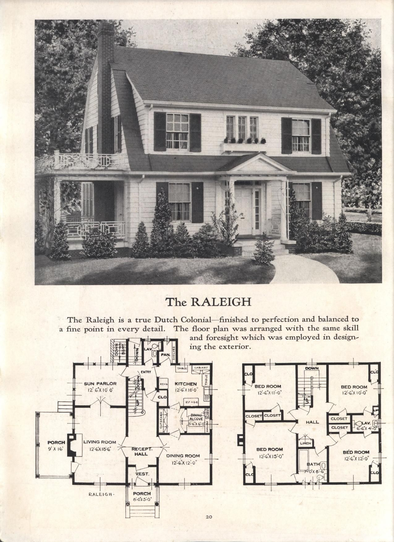 Better Homes At Lower Cost No 17 By Standard Homes Co Publication Date 1930 The Raleigh House Blueprints Vintage House Plans Architecture
