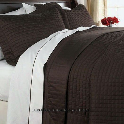 400tc HOTEL MODERN Solid Chocolate/Brown COVERLET BEDDING SET Full ... : light quilts and coverlets - Adamdwight.com
