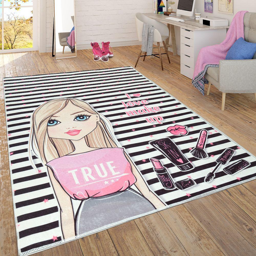 Kinderzimmer Teppich Flachgewebe Streifen Muster Mädchen